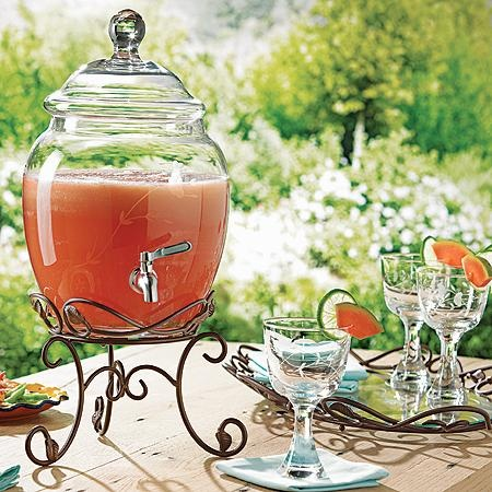 Beverage Server $149.95   For a limited time, get this for $39.95 -- ask how! Handblown, handcut glass dispenser holds up to seven quarts of any cold beverage. Included metal stand