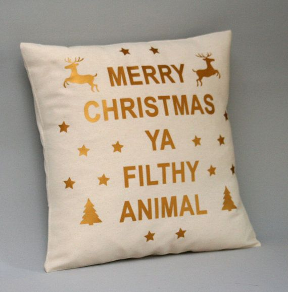 Holiday pillow cover, gold throw pillow, filthy animal pillow, christmas pillows, 16x16, 18x18, 20x20, 24x24, gold pillow Cotton Pillow Cover (Listing