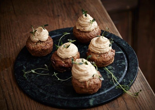 Savoury Cheddar Cupcakes with Caramelized Shallots, Leek and Castello Brie Frosting   Castello Canada