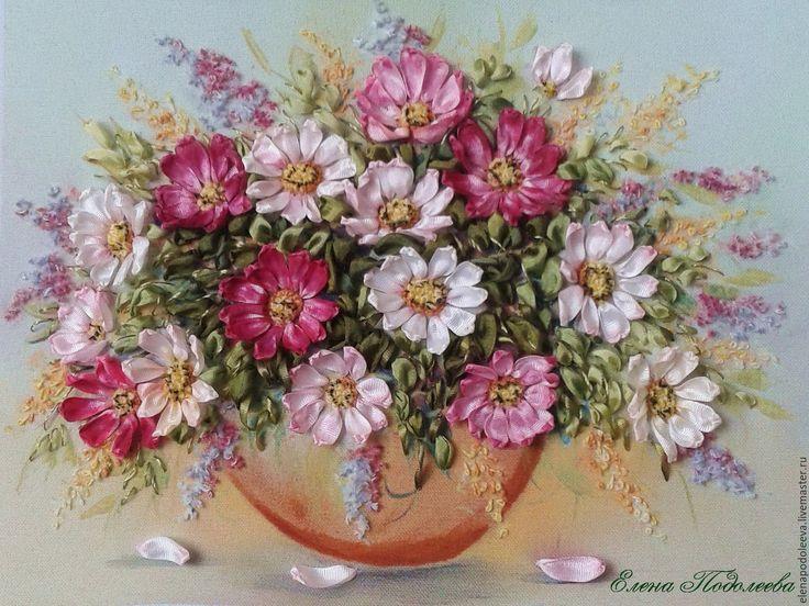 """Купить Картина лентами"""" Нежность космеи"""" - брусничный, космея, цветы, натуральный шелк, материалы для творчества"""