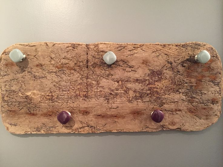 Made a towel rail from drift wood and some nice porcelain handles.