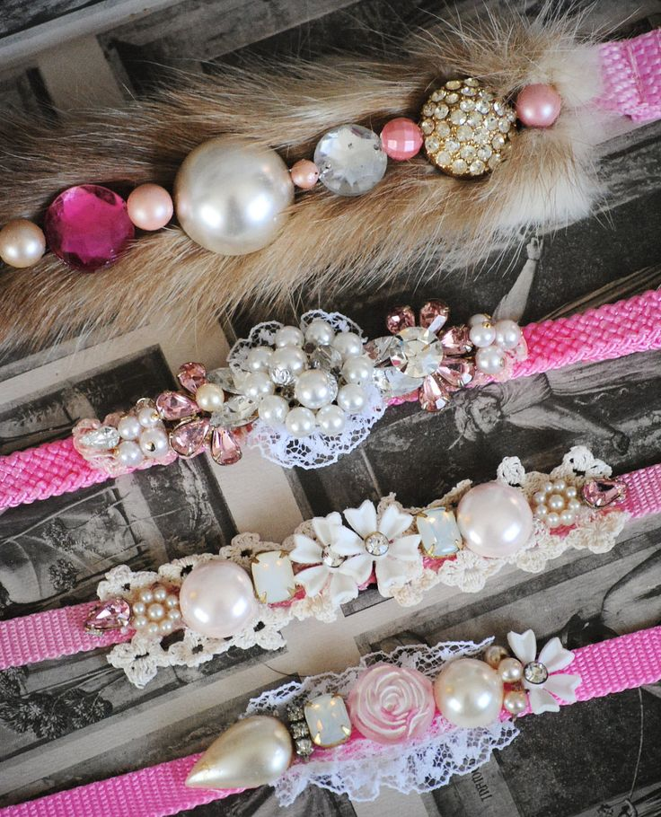 Pink RHINESTONE BLING collar Pet Collar custom , personalized to your style costume dog collar Lace Ice Haute dog, canine couture. $29.99, via Etsy.