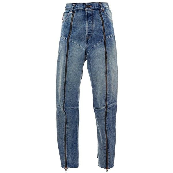 Vetements Blue Levi?s Zipped Biker Jeans ($1,183) ❤ liked on Polyvore featuring jeans, pants, bottoms, blue, blue biker jeans, loose jeans, zip jeans, biker jeans and zipper fly jeans