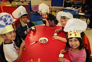 Chef hats with plastic bags...use with recipe writing