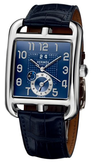 Classic Black Leather & Blue Face Hermes Watch. Men's Spring Summer Fashion.