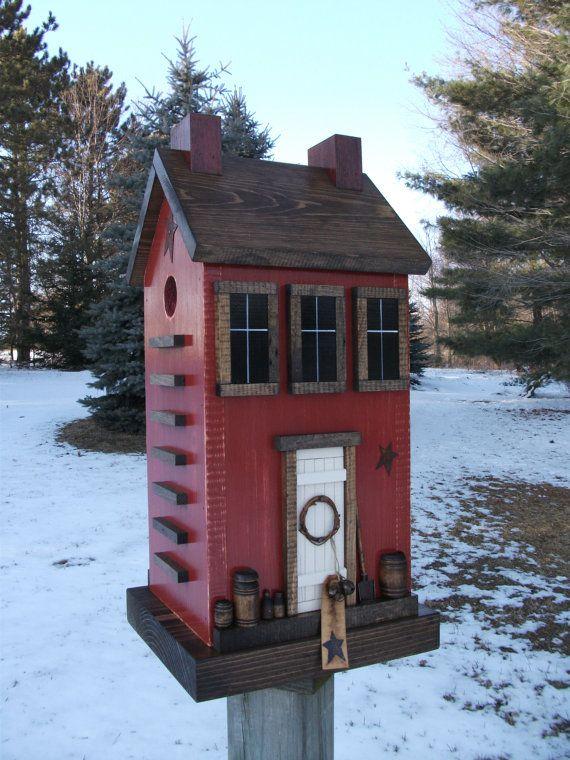 Folk Art Primitive Saltbox Barn Red House by HarmonsCountryCrafts, $69.99