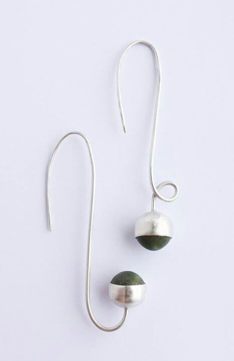Earrings. Matt green porcelain gems, plain bezel cup setting, 100% recycled silver. Liv Thrane Jewellery. www.facebook.com/livthranejewellery  &  www.livthrane.com