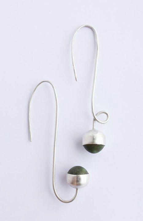 Earrings. Matt green porcelain gems, plain bezel cup setting, 100% recycled silver. Liv Thrane Jewellery. www.facebook.com/livthranejewellery  &  www.livthrane.com