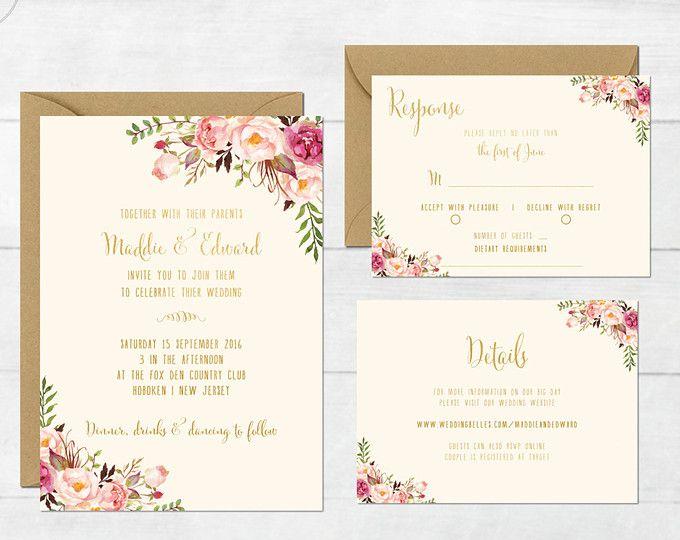 Floral Wedding Invitation Printable Boho Suite Bohemian Invite Spring Summer Barn