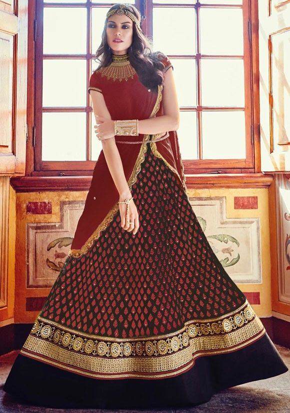 Majestic Maroon and Black Designer Anarkali Suit  https://www.ethanica.com/products/majestic-maroon-and-black-designer-anarkali-suit