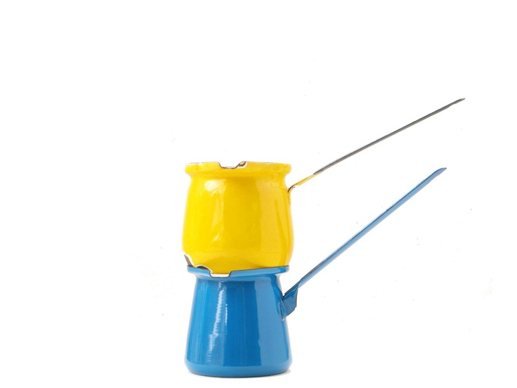 French enamel butter pot ladles - blue canary yellow reduction melting vintage ladle midcentury modern kitchen cooking home france italy. $14.00, via Etsy.
