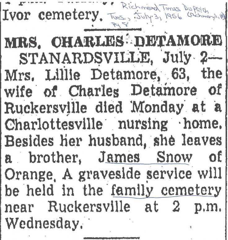 Richmond Times Dispatch: Tuesday, 3 July 1956 I found an obituary for Lillie Detamore.
