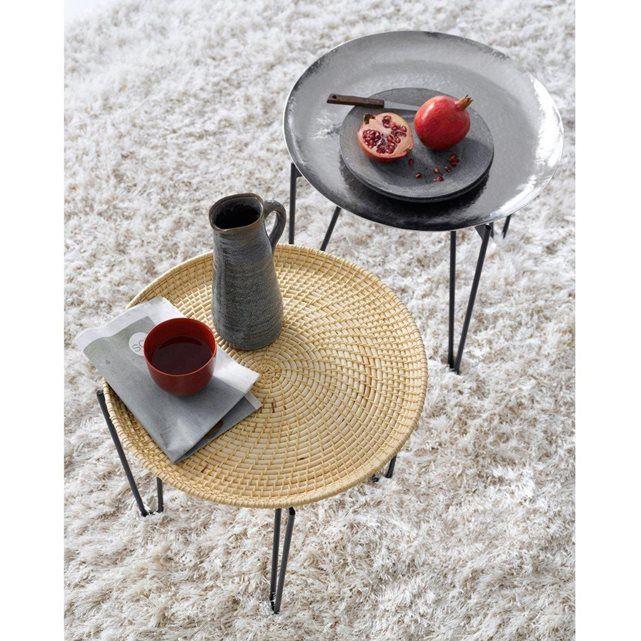 Tendance nomade et inspiration marocaine pour cette table basse à plateau amovible en métal martelé.