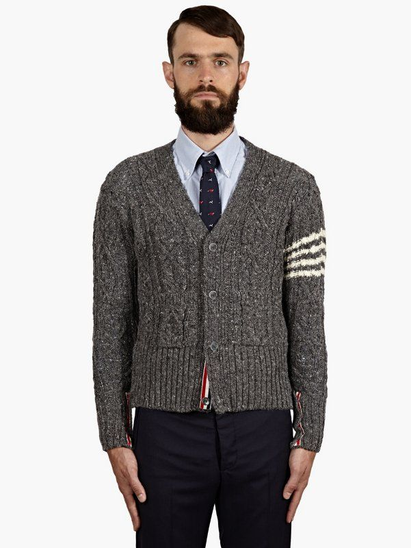 Thom Browne Men's Grey Cable-Knit Cardigan | oki-ni
