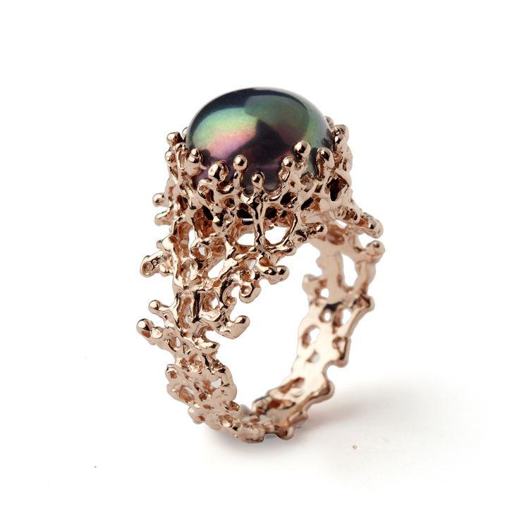 14K Rose Gold Black Pearl Ring | Arosha Taglia