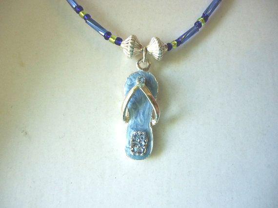 Light Dark Blue Lime Green Flip Flop Charm Necklace £4.99 juliedeeleyjewellery.com