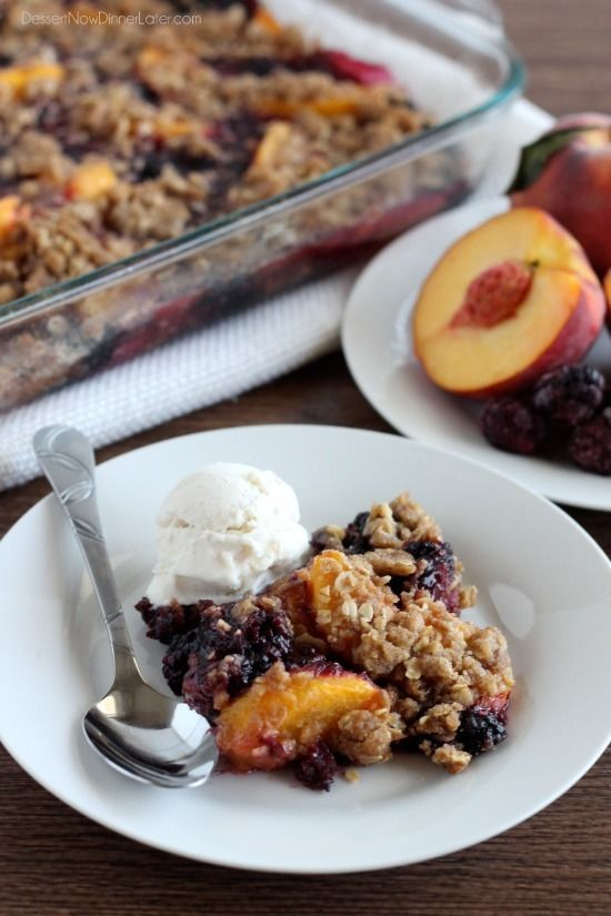 This crisp brings tart blackberries together with sweet peaches, and with the crunchy crisp topping it's so perfect! Yummm!