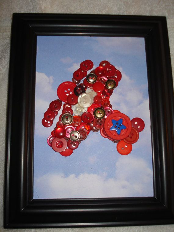 Red Airplane button artframed by Cuteasabutton1973 on Etsy, $25.00