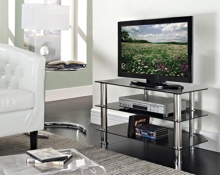TV Stand Black Glass LED LCD Plasma 3D Upto 50  Chrome DVD Sony Samsung LG New