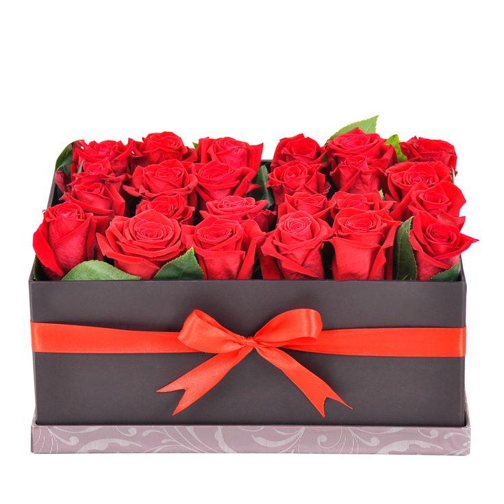 Cajas con 24 rosas rojas, para regalar, sorprender y enamorar. #Rosasencajas #cajasderosas #cajasdeflores #floresencajas #rosas #regalarrosas