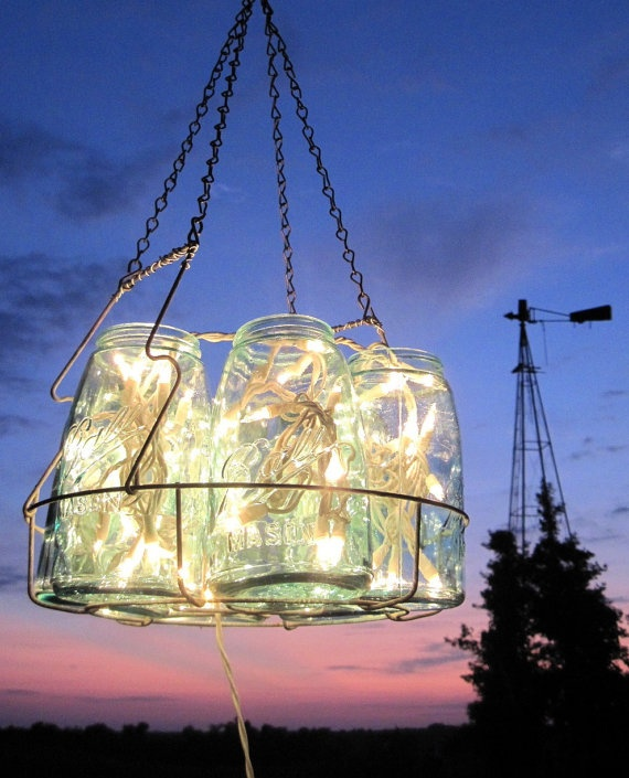 chandelier: Ball Jars, Ball Canning Jars, Idea, Christmas Lights, String Lights, Mason Jars Lights, Mason Jars Chandeliers, Jar Chandelier, Antiques