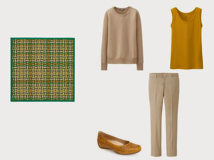 Capsule wardrobe inspiration from Three Green Scarves, in three Color palettes.