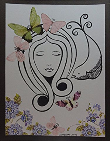 Lady & Bird Drawing Butterfly Flower Collage