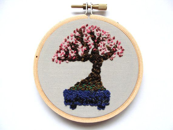 Hand Embroidered Prunus mume Bonsai Hoop Art by OnTheWallByYoko, $23.00