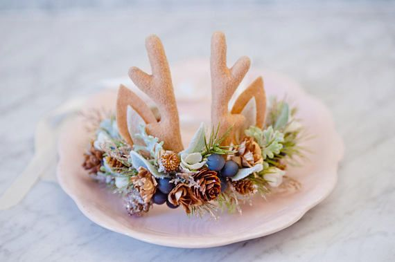 This is a listing for an ivory, mint and navy silk flower crown with felt antlers and reindeer ears. This Christmas inspired headband is part of our animal collection (see the Flower crown section of our shop). The back of it ties with a delicate ivory silk ribbon that can be