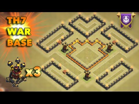 Clash Of Clans - New update - Th7 War base 3 air defense anti Dragons - ...
