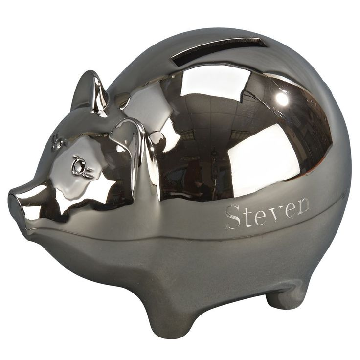 """Make saving fun again with our classic piggy bank! This metal bank has a shiny non-tarnish nickel plated finish so you won't need to spend time polishing it, instead you will be able to spend time counting your money. The bank can be engraved with a special name, date or message for any occasion. The pig bank measures 4.25"""" high x 4"""" wide x 5"""" long. The slot to insert money is located on the top of the pig's back. You will love the details such as the ears, nose, eyes and tail. Sheridan…"""
