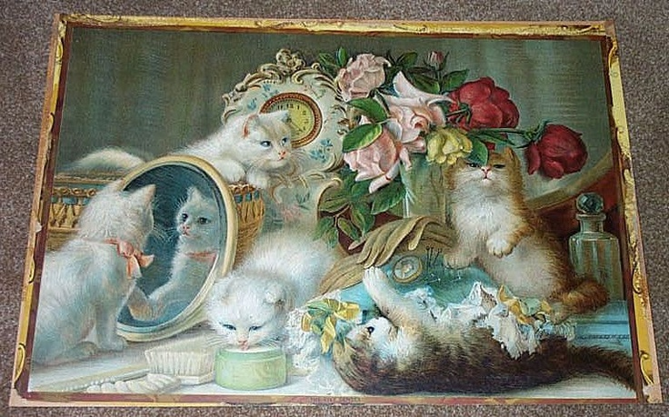 1907 Lithograph Print Quot The Five Senses Quot Five Playful Cats