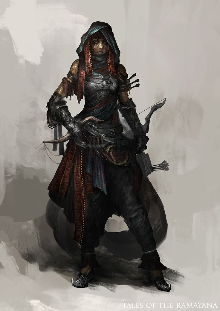 Tales of the Ramayana - Assassin by theDURRRRIAN female thief rogue assassin armor clothes clothing fashion player character npc | Create your own roleplaying game material w/ RPG Bard: www.rpgbard.com | Writing inspiration for Dungeons and Dragons DND D&D Pathfinder PFRPG Warhammer 40k Star Wars Shadowrun Call of Cthulhu Lord of the Rings LoTR + d20 fantasy science fiction scifi horror design | Not Trusty Sword art: click artwork for source