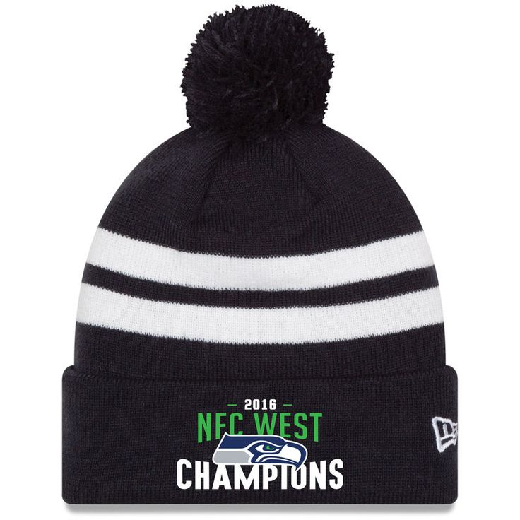 Seattle Seahawks New Era 2016 NFC West Division Champions Top Stripe Cuffed Knit Hat with Pom - College Navy