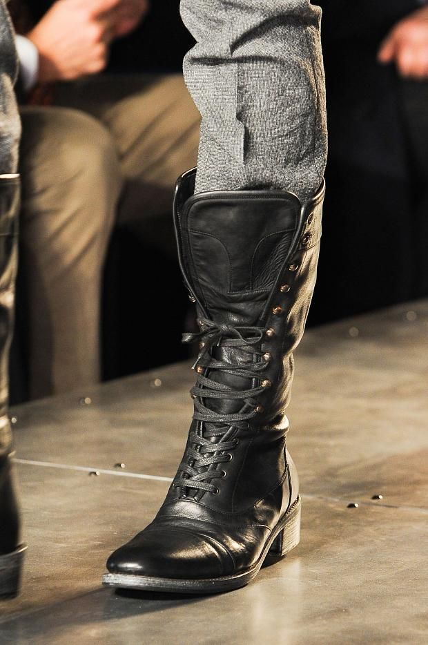 John Varvatos Men's Details A/W '13 The worn-in leather material  gives the Cable wingtip boot a vintage feel, and is a must have for the man who knows fine footwear.