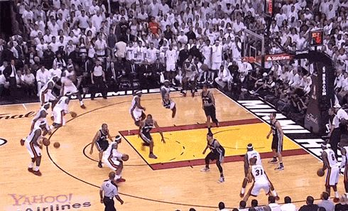 As much as I hate to do this...its a cool compilation of LeBrons shots. Take a look at LeBron James' NBA Finals MVP-worthy performance, in GIF form   Ball Don't Lie - Yahoo! Sports