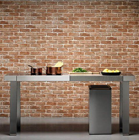 Decowall HWP-21213 (50cm x 2.5m) Brown Brick effect Sticky Back Plastic Vinyl Wallpaper/Self-adhesive vinyl wallpaper/Prepasted wallpaper/Self adhesive wallcovering/sticky vinyl wallpaper: Amazon.co.uk: Kitchen & Home