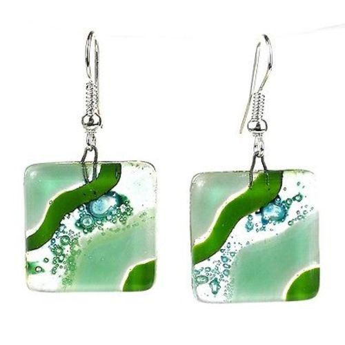 Add an elegant touch to your wardrobe with handmade jewelry from Chile. These sparkling multicolor earrings feature squares of shimmering bubble and opaque fused glass dangling from surgical steel hoo