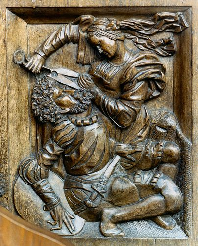 Montbenoît, Franche-Comté, abbey church, stalls, bench-end Wood relief