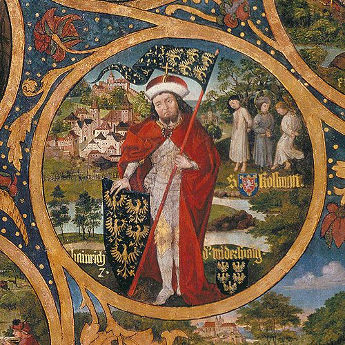 Saint Coloman of Stockerau.(*Irland- 1012) Babenberg Family Tree. 1489-92.Coloman is a saint of the Catholic Church. He was an Irish pilgrim en route to the Holy Land and was mistaken for a spy because of his strange appearance, examinated, tortured, and hanged at Stockerau, near Vienna, Austria, on 17 July 1012. The leafless tree was green again and pointed to the fact that he was wearing a martyr of Christ. The Margrave Heinrich left Coloman body on October 13, 1014 buried in Melk.