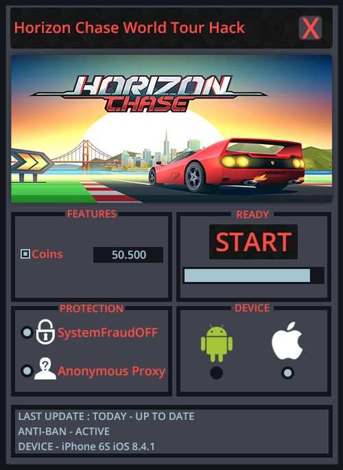 Horizon Chase World Tour Cheat 2018 Download. Horizon Chase World TourHack Tool. Can you imagine a game that will be giving more enjoy and not irritated? If I'm right, this awesome program is especially for you. Of course, like everyone, our program is completely safe and can be used on Android and iOS device. We have full support for this program and the