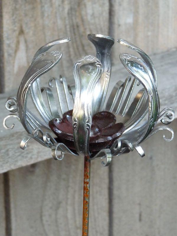 Image result for silverware flower art