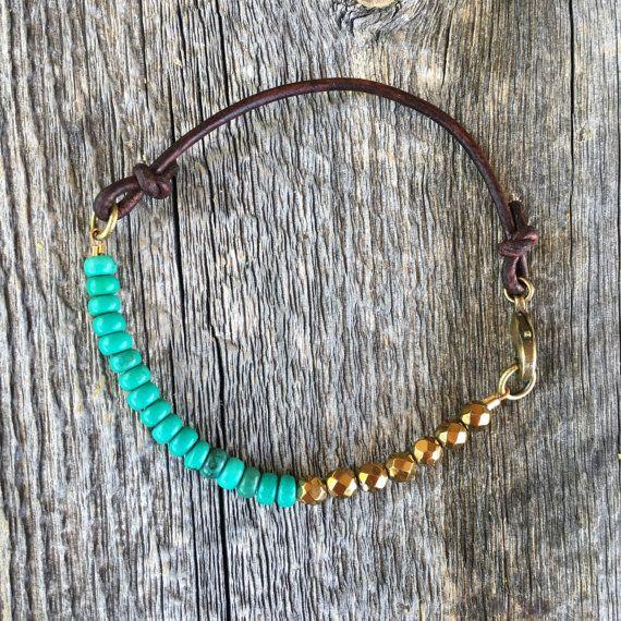 Gemstone bracelet - leather cord bracelet - leather gemstone bracelet - bohemian bracelet - turquoise bracelet
