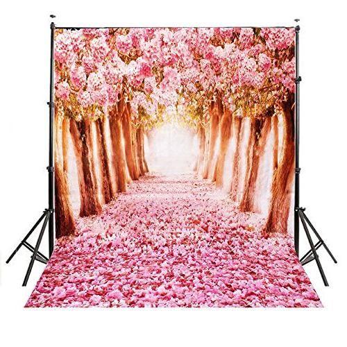 5x7ft Pink Romantic Cherry Blossoms Street Vinyl Backdrop Photography Prop Photo Background Sakura Flower Road Studio Prop Backdrops