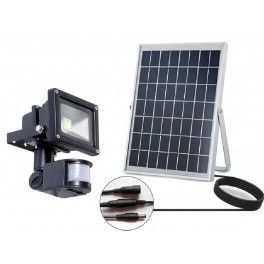 Projecteur Solaire LED 10 watt Détecteur de Mouvement Angle d'éclairage: 120° Temps de charge: 5 heures Autonomie: 10h batterie Lithium  Dimension du projecteur: 110*160*100mm Panneau solaire Monocristallin 3W 12V Dimension du panneau solaire: 175*145*18mm Câble de raccordement : 5 mètres Poids: 2,6 Kilo