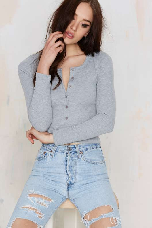 Glamorous Button Up And Coming Ribbed Top