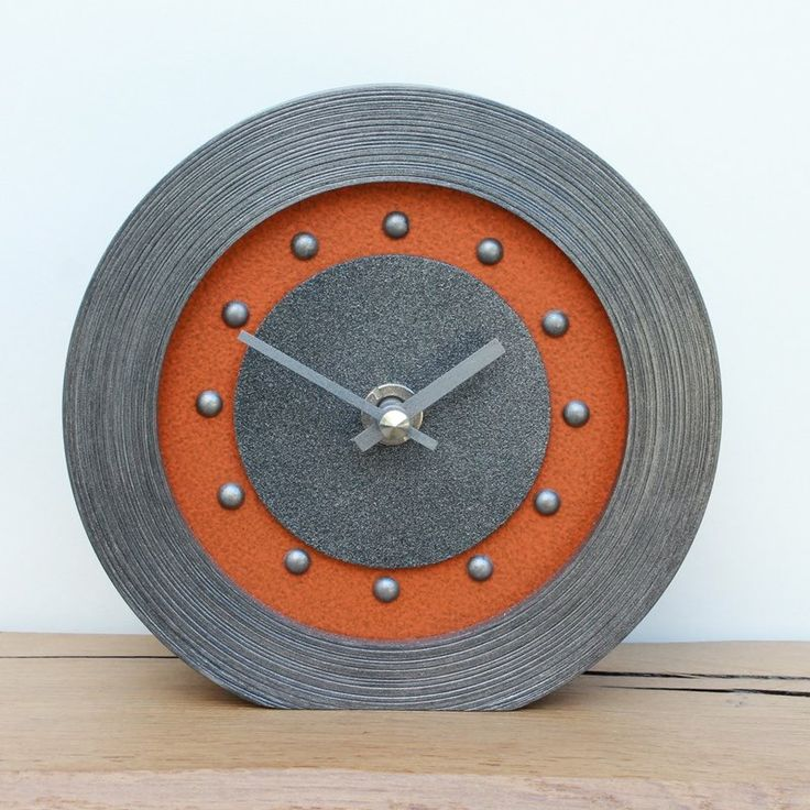 Orange Mantel Clock with Pewter Studs and Hands