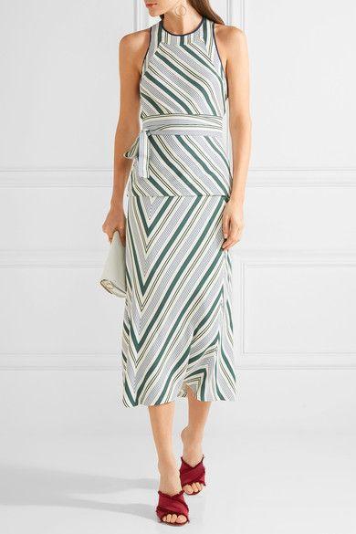 Tory Burch - Villa Striped Satin-twill Midi Skirt - Off-white