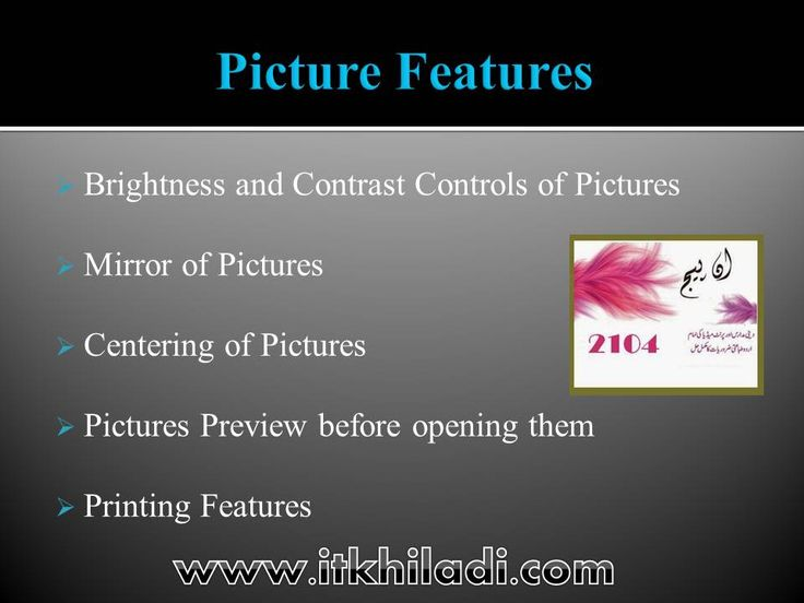 Picture features in inpage urdu