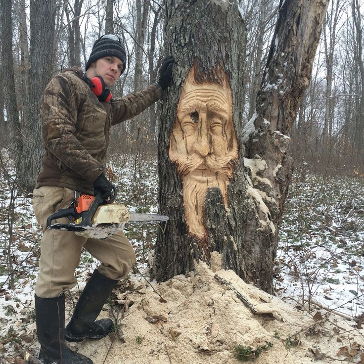 A live tree carving by josh carte in silver maple